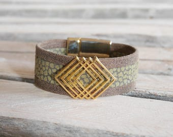SALE geometric Bangle in khaki and brown leather (BR86KAMAOR)