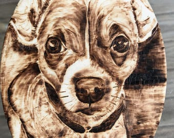 Wood Burning Pet Portraits by Britta Hennessy