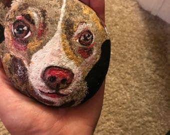 Rock Painting Pet Portrait