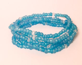Frosted Light Blue Seed Bead Bracelet