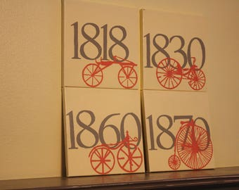 Set of Four Bike Paintings-Through Time
