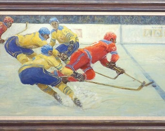 Crossing the Blue Line Hockey Painting by Russian Painter Nikolai Ovchinnikov