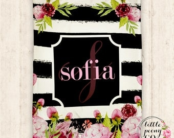 Monogram Personalized Blanket - Receiving Blanket Birthday Gift with Floral Rose Pattern - 30x40, 50x60, 60x80