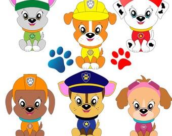 Paw patrol Clipart, Paw patrol design, digital file, Instant download, paw Instant download, PNG, Paw clipart design, Paw patrol Scrapbook