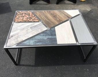 Coffee Table Metal W/ Tile 3 1/2 X 2 1/2 X 18