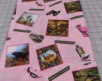 Pink, REALTREE Fabric, Pink Realtree, Jim Hansel Edition, Fish, Ducks, Boots, Glasses, Flip Flops, Binocular, Cotton, Woven, Fabric by Yard