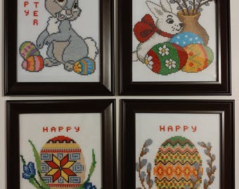 Happy Easter set of 4 beautiful handmade cross-stitched pictures  in individual frames with glass covering.