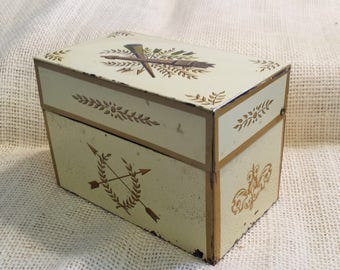 Vintage Metal Recipe Box Cream with Gold Painted French Art Designs Made by Ohio Art