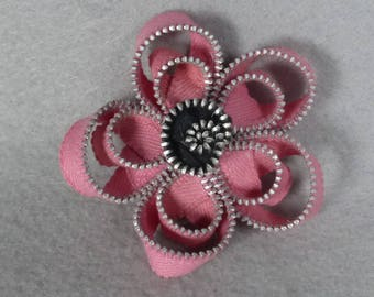 Pink Flower Brooch - Zipper Pin - Upcycled, Recycled, Repurposed