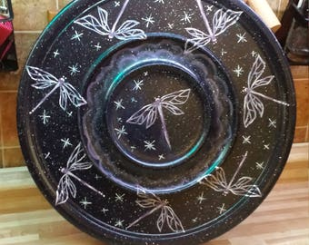 Hand Painted Dragonfly Wooden Platter
