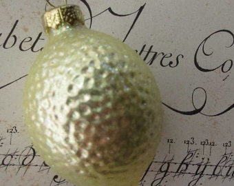 Vintage Germany Christmas Ornament Lemon Blown Glass Ornament Box B