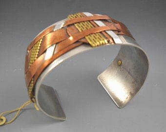 Mixed Metals of Copper Brass and Sterling Riveted on a Wide Band Sterling Cuff KHB1533