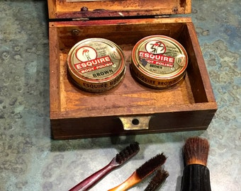 Vintage Esquire Shoe Shine Kit in Dovetail Wood Box and 2 Bakelite Brushes Plus More