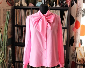volup vintage sheer pink secretary blouse . 1970s pink pussybow blouse . tie collar ascot blouse . womens large xl