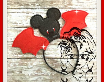 VAMPIRE Wings Inspired Character (3 Piece) Mr Miss Mouse Ears Headband ~ In the Hoop ~ Downloadable DiGiTaL Machine Emb Design by Carrie