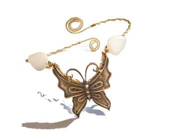 Butterfly brass ethnic bohemian upper arm bracelet armlet with shell