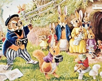 Vintage Postcard, Racey Helps, Medici Society, The Photographers, Dressed Animals, Paper Collectibles, Little Animals, Woodland Art, Bunnies