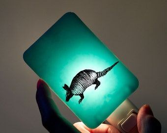 Armadillo Nightlight on Powder Blue - Fused Glass Night Light - Gift for Baby Shower or Nature Lover - Texas