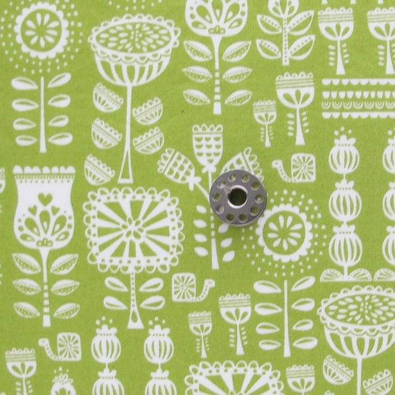 FAT EIGHTH Green Scandi Inspired Floral Quilting Cotton Fabric | Grandma's Wallpaper in Leaf Lil Red Collection Stacy Iset Hsu for Moda