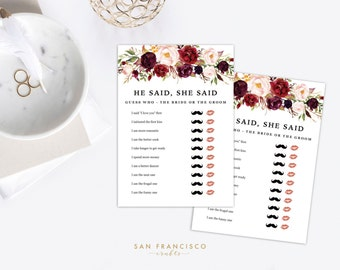 EDITABLE He Said She Said Game | Bridal Shower Game, Bachelorette Party Game  | Holly Collection | Printable, Instant Download PDF file, diy