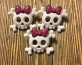 Skull and Cross Bones with Pink Bow