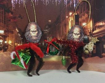 Bigfoot Ornament   Sasquatch    Cryptozoology   Vintage Style   Chenille Christmas Ornament   Feather Tree -  Unusual Ornament   Yeti