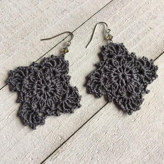Gypsy Lace Crochet Earrings Handmade Lace in Charcoal Dark Gray Boho Chic Crocheted Hippie Dangle Statement Earrings Gift for Her