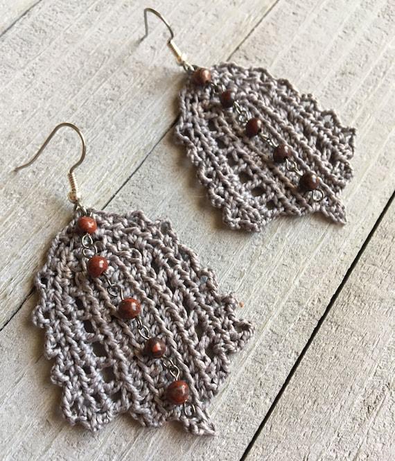 Crochet Leaf Statement Earrings Irish Lace Gray Boho Chic Crocheted Hippie Dangle Earrings Gift for Her Crochet Leaf Nature Jewelry