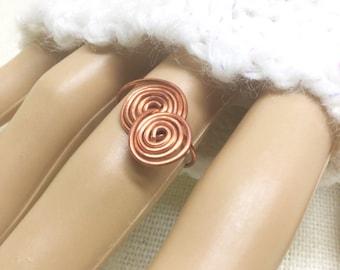 Copper ring, size 6, interlocked spirals