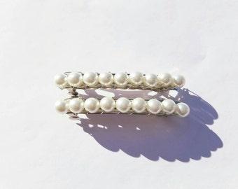 Beaded Barrette,Hair Clip,Glass Pearls- Handmade Set of 2