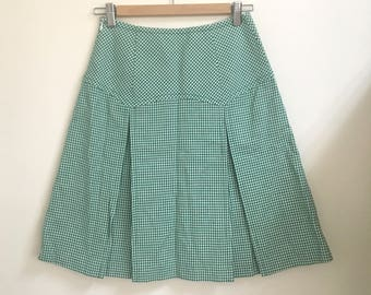 Green Houndtooth High Waisted Check Skirt