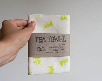 Linen Tea Towel - Crowns pattern in fluoro ecofriendly ink, hand screen printed in Melbourne