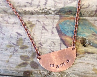 mama - custom handstamped copper half moon necklace