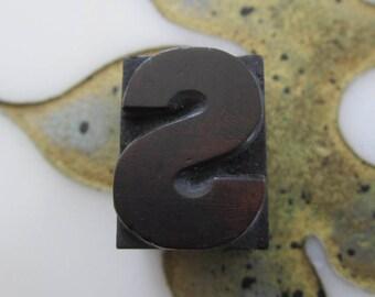 Letter S Antique Letterpress Wood Type Printing Block
