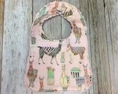 Baby Bib in Pink Llama Animal Fabric - Baby Shower Gift