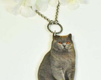 Gray Cat Pendant Kitty Necklace Gracie the Gray - Gray Kitty Necklace -Cat Necklace -Gray Tabby -Kitty Cat -Cat Jewelry -Cat Lover Jewelry