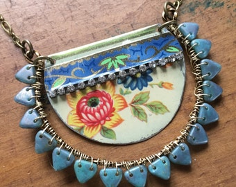 Ray of blue vintage tin necklace