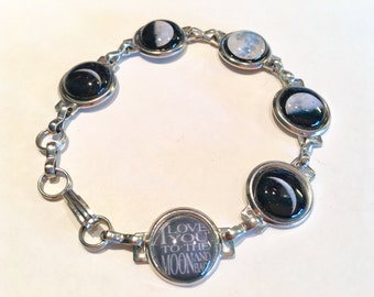 Custom silver bezel resin keepsake memory charm bracelet personalized with your photos or this one mom jewelry gif love you to the moon back