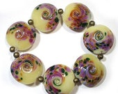 Spring Fling Sale Buttercream Flowers Lentils, SRA  Handmade Glass Lampwork Beads