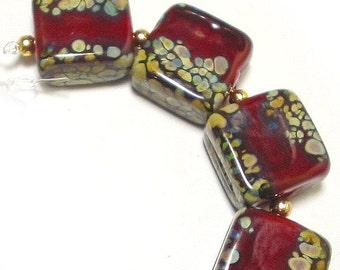 Curried Reds Tiles, SRA Handmade Glass Lampwork Beads