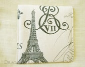 Eiffel Tower Pouch with Snap for Passport or Feminine Hygiene Products - Paris France, Ecru and Grey French Cottage Chic Accessory Pouch
