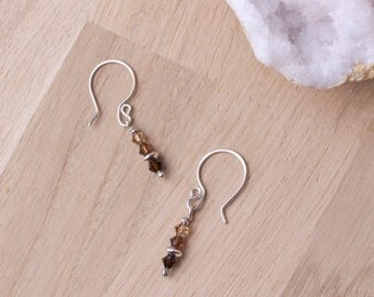 Brown bead earrings - Sterling silver and Swarovski crystal beads | Crystal jewellery | Brown jewelry | Bead dangle earrings | Earth tones