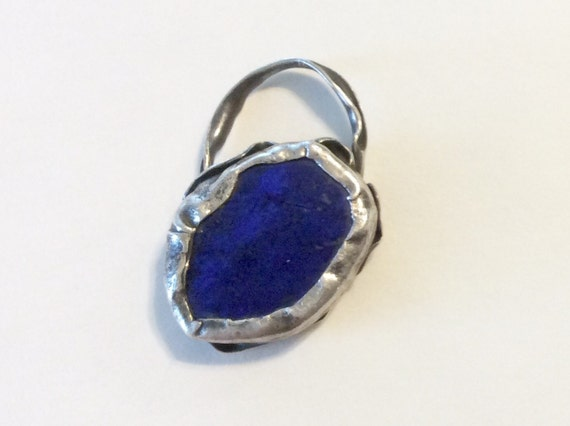 Lapis lazuli and sterling silver charm pendant