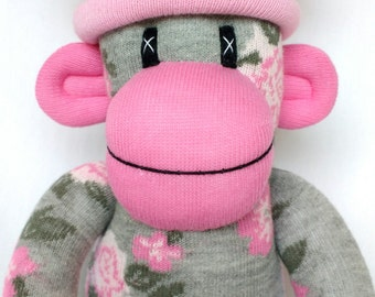 Pretty grey and pink Rose Sock Monkey with striped pom pom hat ce certified shabby chic (made to order)