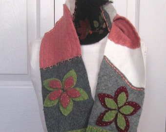DUSTY ROSE . Felted Scarf  . patchwork scarf . made from repurposed sweaters  . Girl scarf.