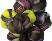 Wizard's Duel battlings -- mini batts (2 oz.) organic polwarth wool, bamboo, tencel, onyx sparkle.