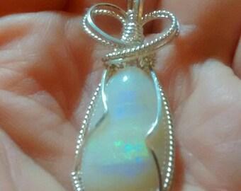 Handmade Jewelry Sterling Opal Pendant Necklace OOAK Artisan