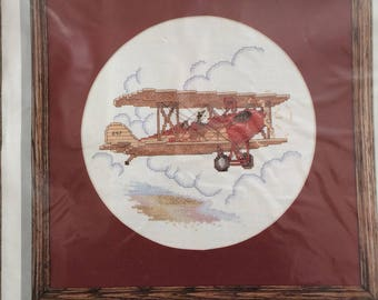 Simplicity Counted Cross Stitch Kit 05579-AIRBORNE-05579-New, Sealed, Prop Plane Cross Stitch, OOP, JCA, Gibson Greetings-Vintage