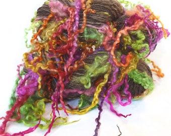 Handspun Art Yarn hand spun BFL wool & handdyed Wensleydale locks, curly yarn, tailspun, textured, curls
