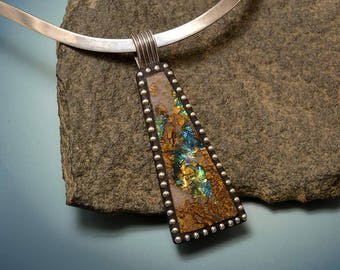 Sterling Silver Pendant with faux boulder opal blue, green, orange iridescent rock sterling beads and bail one of a kind statement piece